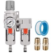 "NANPU 1/2"" NPT Air Dryer System - 5 Micron Particulate Filter, 0.5 Micron Coalescing Filter & Air Pressure Regulator, Water Trap Separator - Semi-Auto Drain,0-150 psi Gauge, Poly Bowl, Metal Bracket"