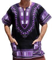 RaanPahMuang Brand Unisex Bright African Black Dashiki Cotton Shirt