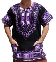 RaanPahMuang Brand Unisex Bright African Black Dashiki Cotton Shirt