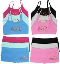 ToBeInStyle Girl Pack of 6 Set Spaghetti Strap Training Bras & Boyshorts Bikinis