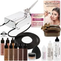 Belloccio Professional Beauty Deluxe Airbrush Cosmetic Makeup System with 5 Dark Shades of Foundation in 1/2 oz Bottles - Kit includes Blush, Bronzer and Highlighter and 3 Free Bonus Items, Video Link