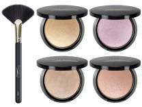 Aesthetica Starlite Highlighter - Metallic Shimmer Highlighting Makeup Powder (All 4 Shades + Brush)