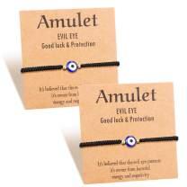 Shonyin Evil Eye Bracelet for Protection Kabbalah Lucky Ojo Turco Mal De Ojo Bracelets for Women Men Handmade Amulet 2 Pcs