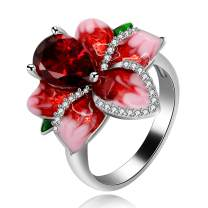 Uloveido Girl's Beautiful Red Enamel Rose Ring for Women Blossom Flower Rings with Pear Cut Cubic Zirconia Cocktail Summer Ring RA627