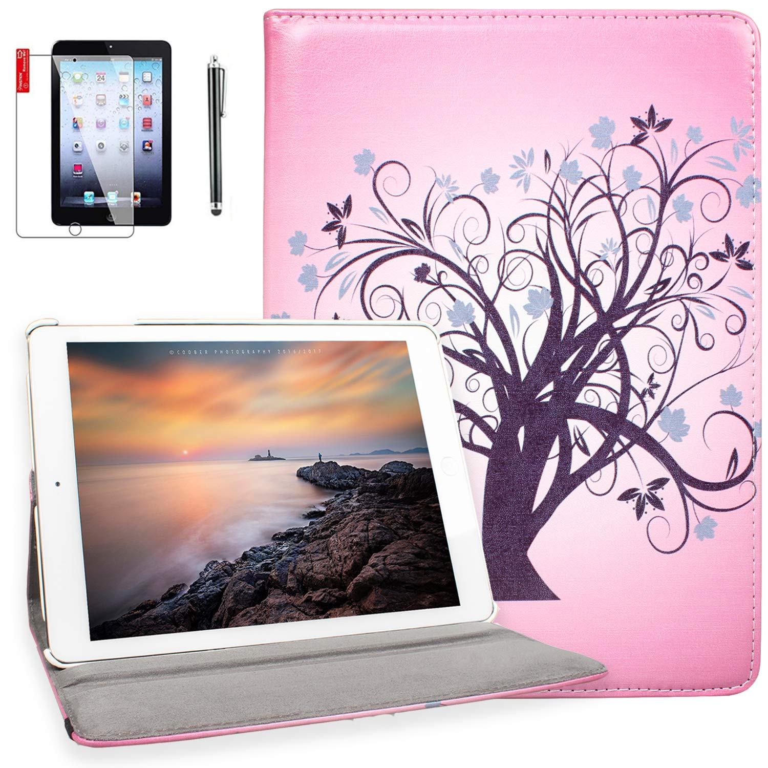 iPad 4th Generation Case with Screen Protector and Stylus - iPad 2nd 3rd 4th Generation Case Cover - 360 Degree Rotating Stand, Auto Sleep Wake, Shockproof, A1395 A1416 A1458 MD510LL/A (Miss Tree)
