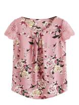 Milumia Women's Flower Print Lace Cap Sleeve Pleated Floral Blouses Chiffon Work Top