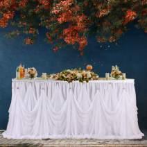 Leegleri White Tulle Tutu Wedding Table Skirt for Rectangle or Round Table Ruffle Tablecloths for Baby Shower,Bridal Shower, Birthday,Elegant Party Event(6 ft Table Skirt)