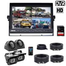 Backup Camera System, DOUXURY 4 Split Screen 9'' Quad View Display HD 1080P Monitor with DVR Recording Function, IP69 Waterproof Night Vision Camera x 4 for Truck Trailer Heavy Box Truck RV Camper Bus