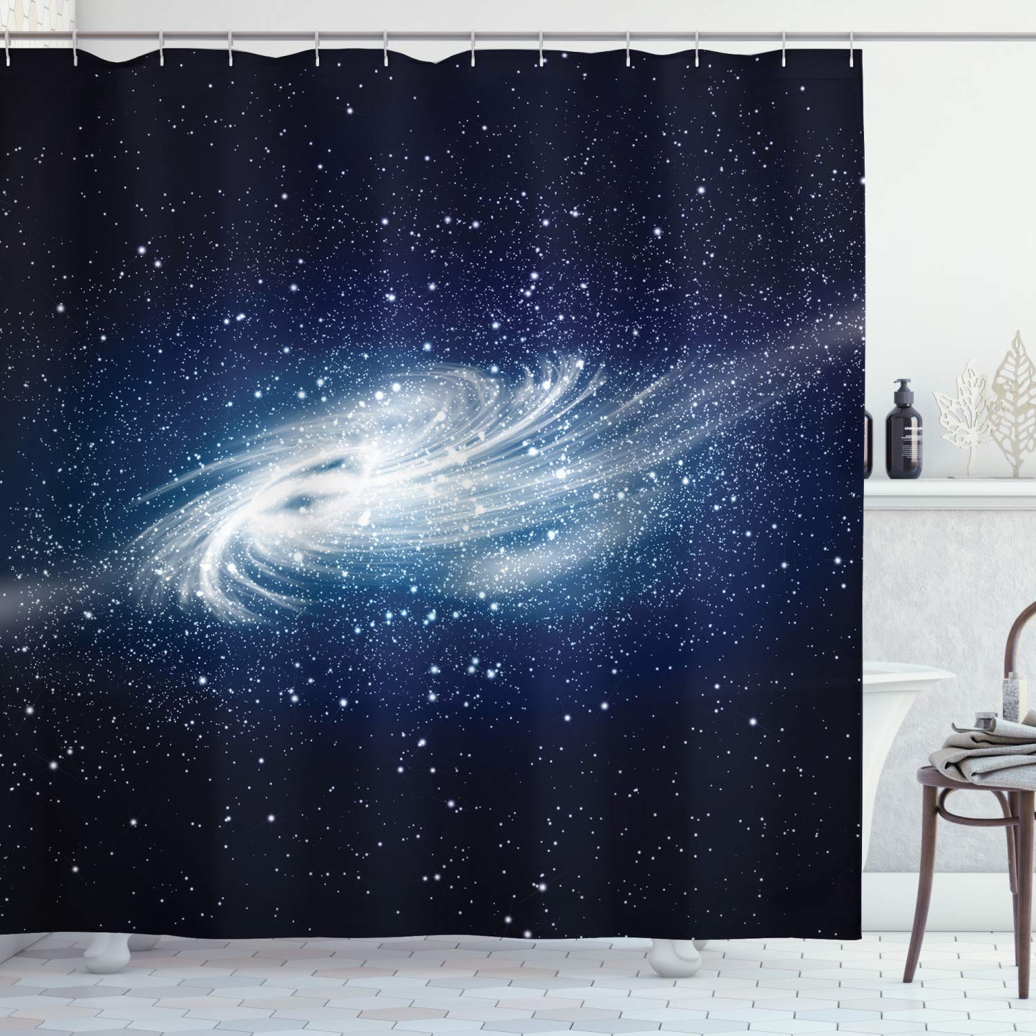 """Ambesonne Outer Space Shower Curtain, Spiral Galaxy Image Space and Stars Celestial Cosmos Expanse Universe Modern, Cloth Fabric Bathroom Decor Set with Hooks, 75"""" Long, Navy White"""