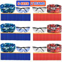 Nerf Party Supplies Compatible Included Face Mask Tactical Glasses 20 Foam Bullets for Two Teams Nerf Birthday Party War Favors Guns for Kids Easter Basket Toy Gift for Boys Girls Toddlers