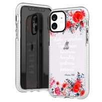 iPhone 11 Case,Red Floral Flowers Roses Daisy Blooms Bible Verses Inspirational Christ Lord Quotes Colossians 3:12 Trendy Cute Girls Women Soft Protective Clear Design Case Compatible for iPhone 11