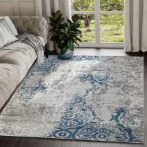 Abani Rugs Grey & Blue Damask Floral Pattern Area Rug Traditional Modern Eclectic Style Accent, Nova Collection | Turkish Made Superior Comfort & Construction | Stain Shed Resistant, 5 x 7 Feet