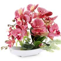 YOBANSA Orchid Bonsai Artificial Flowers with Imitation Porcelain Flower Pots Phalaenopsis Fake Flowers Arrangements for Home Decoration (Deep Pink)