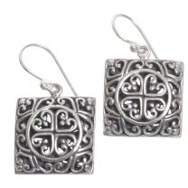 NOVICA .925 Sterling Silver Dangle Earrings, Heart Cube'