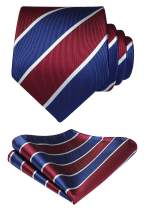 HISDERN Striped Tie for Men Handkerchief Woven Classic Men's Necktie & Pocket Square Set