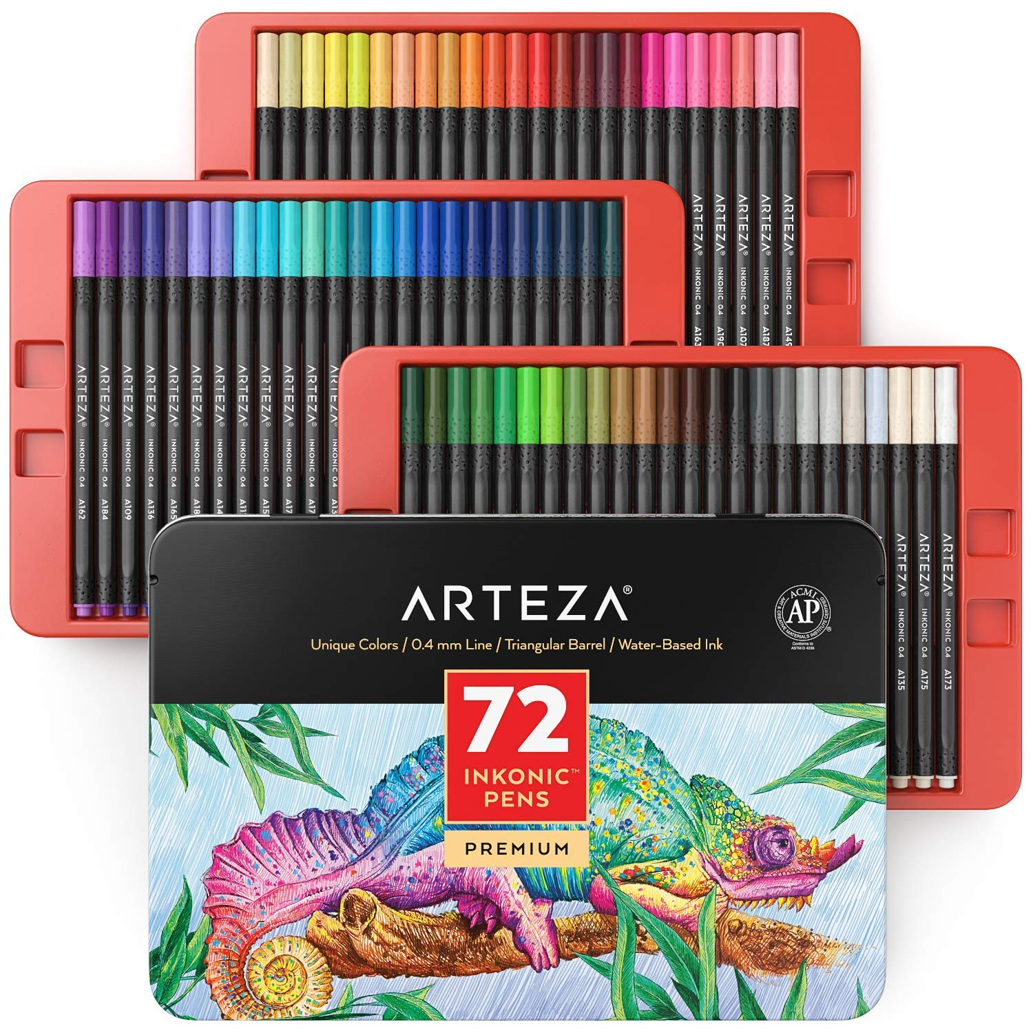 ARTEZA Inkonic Fineliners Fine Point Pens, Set of 72 Fine Tip Markers with Color Numbers, 0.4mm Tips, Ergonomic Barrels, Brilliant Assorted Colors for Coloring, Drawing & Detailing