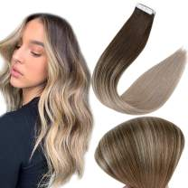 Full Shine Tape in Hair Extensions 18 Inch Remy Human Hair Color 4 Dark Brown Fading to 18 Ash Blonde Ombre Hair Extensions 20 Pieces Real Human Hair Seamless Tape ins Straight Hair 50 Grams Per Pack