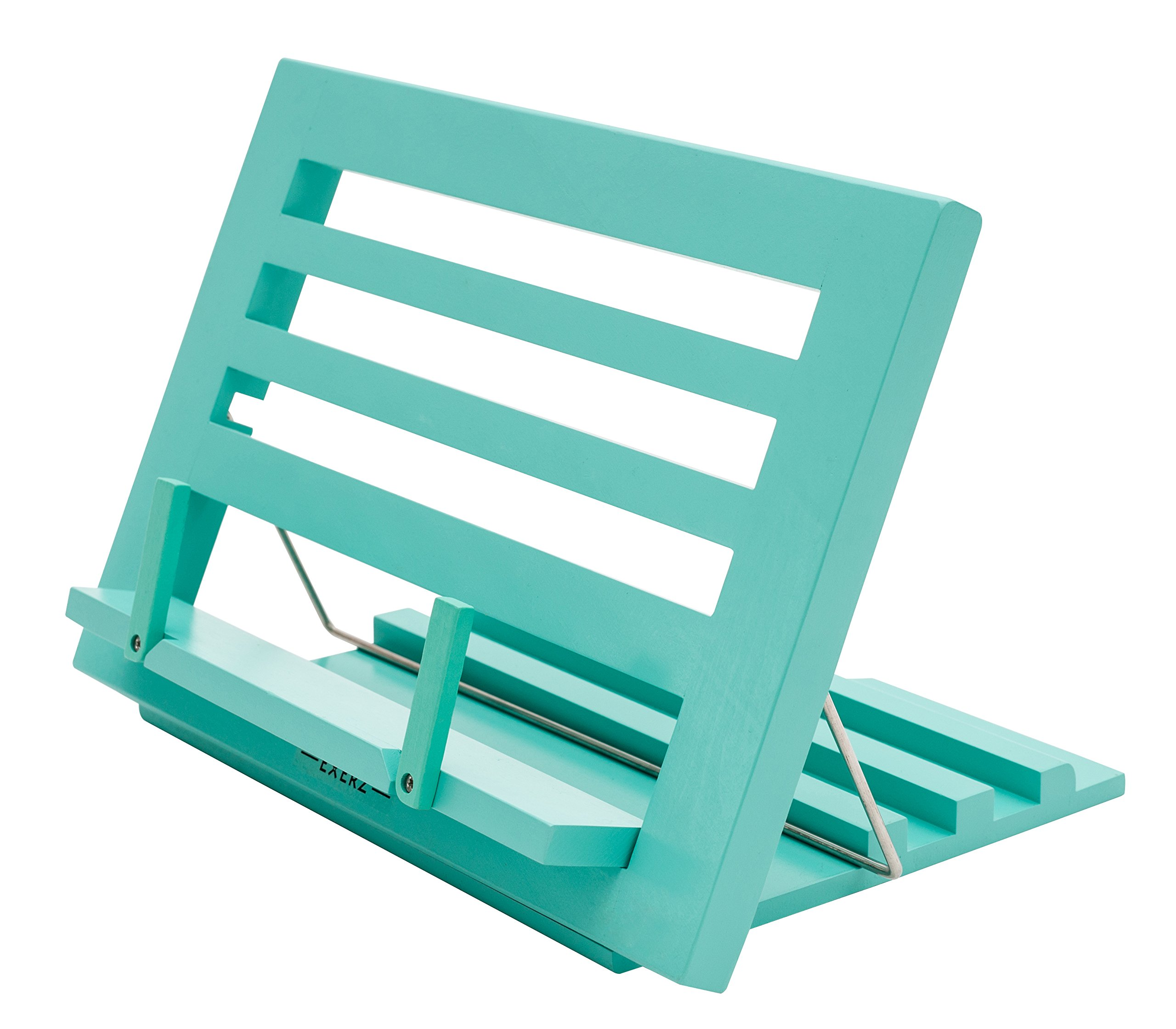 """Exerz Wooden Reading Rest Cookbook Stand Recipe Holder Bookrest Table Easel – Premium/Adjustable/Foldable/Text Book Ipad Tablet Dictionary/Natural Wood Eco Friendly – 13.5"""" x 9.5"""" x 1"""" (Blue)"""