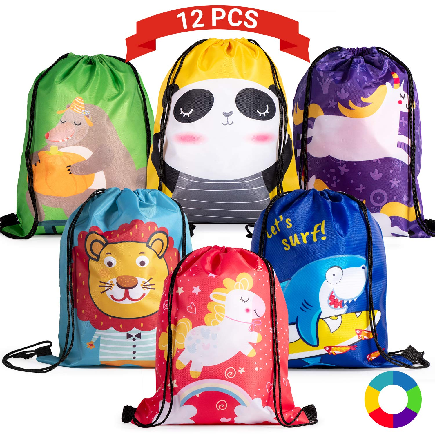 Joyjoz Kids Party Favor Bags, Drawstring Party Bags for Girls Boys, Birthday Candy Goodie Treat Bags for Christmas Party with 6 Animal Designs,12 Packs