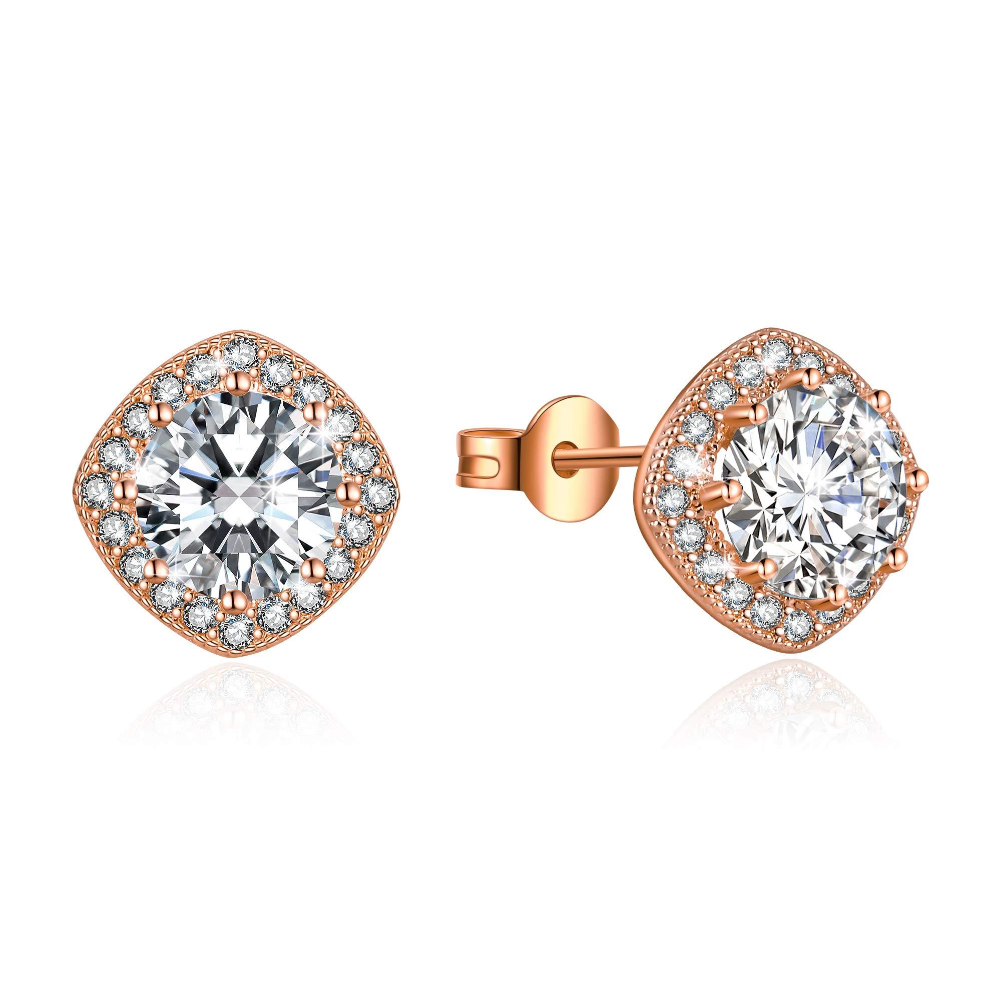 Stud Earrings for Women Fashion Jewelry Cubic Zirconia Halo Earrings for Women Men