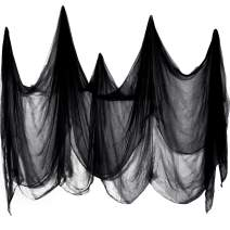 215 x 500 cm Creepy Cloth Spooky Cheesecloth Cotton Muslin Cloths Halloween Decorations for Haunted Houses Party Doorways Outdoors (Black)