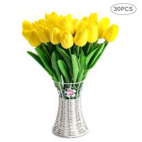 CCINEE 30pcs Real Touch Tulips Yellow PU Tulips Artificial Flowers for Wedding Home Decoration