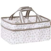 Sidney Grey and White Dalmatian Spots Print Nursery Diaper Storage Caddy - Portable Organizing Fabric Tote Bag