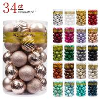 KI Store Christmas Balls Blush Pink 2.36-Inch 34ct Shatterproof Christmas Ball Ornaments Decorations Tree Balls for Holiday Wedding Party Decoration Tree Ornaments Hooks Included