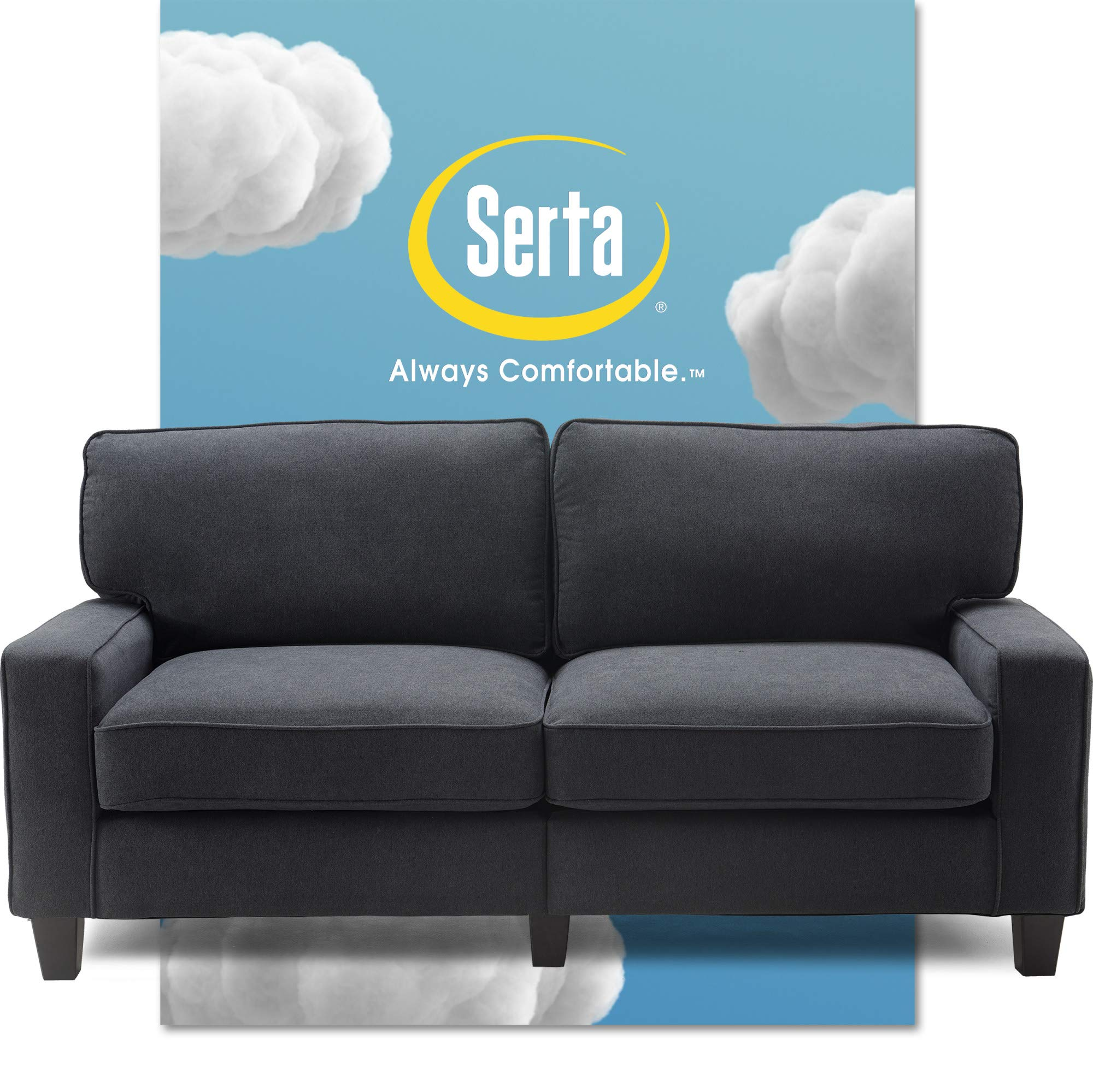 """Serta Palisades Upholstered Sofas for Living Room Modern Design Couch, Straight Arms, Soft Fabric Upholstery, Tool-Free Assembly, 73"""", Charcoal"""