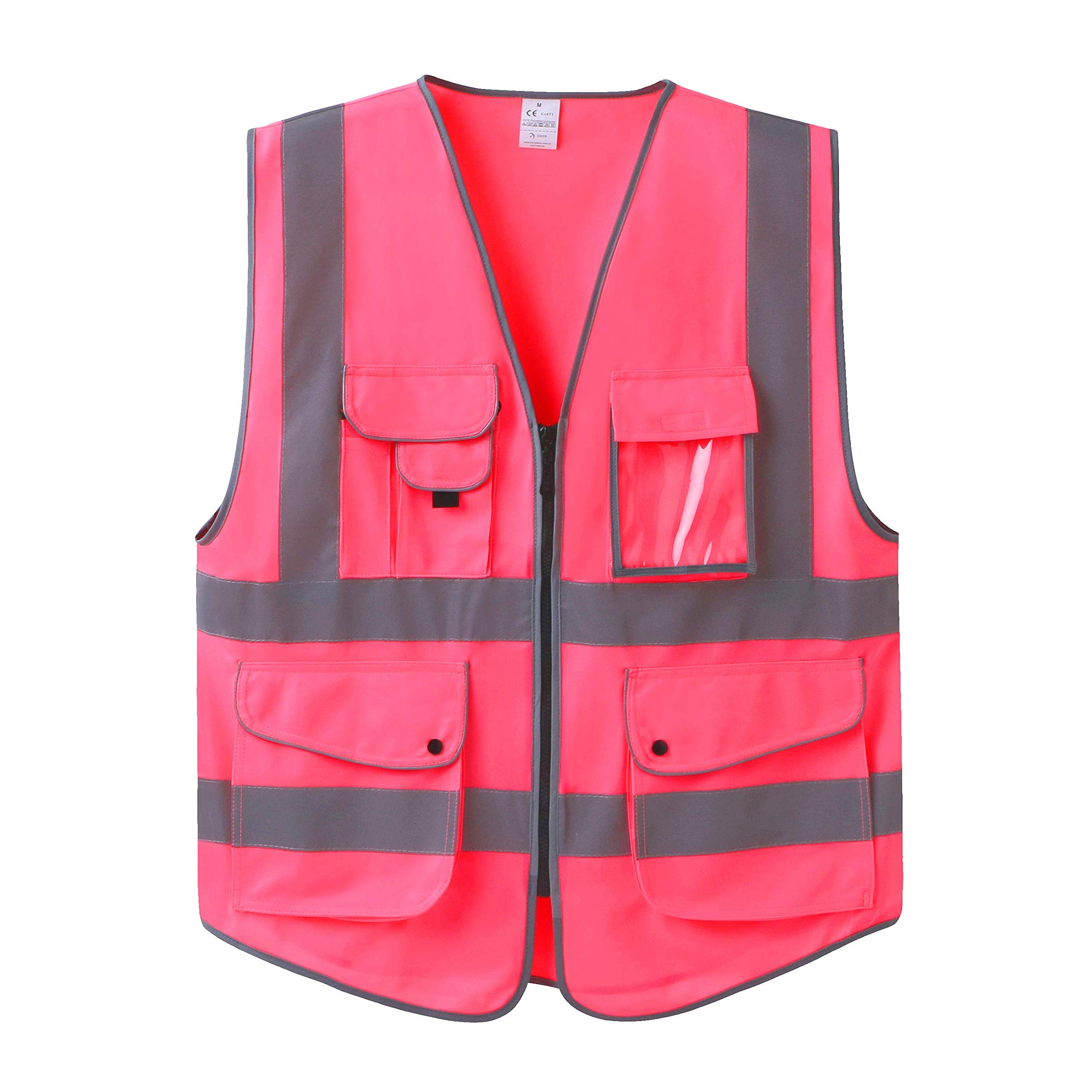 Uninova Safety Vest High Visibility - 9 Pockets Reflective Vest for Men & Women - ANSI/ISEA Standards (Large, Pink)