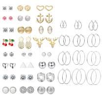 FIBO STEEL 36 Pairs Stud Earrings for Women Simple Cute Hoop Earring Set