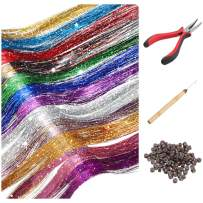 Hair Tinsel Strands Kit, Tinsel Hair Extensions, Fairy Hair Tinsel Kit for Women Girls with Tools (12 Colors+Dark Brown Silicone Link Rings Beads, 2400 Strands)
