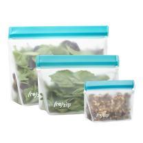 rezip 3-Piece Stand-Up Leakproof Reusable Storage Bag Kit 8/16/32-ounce (Aqua)