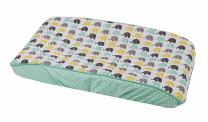 Bacati Unisex Mini Elephants Diaper Changing Pad Cover Cotton Shell with Polyester Batting, Mint/Yellow/Grey