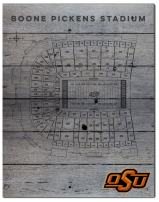 "KH Sports Fan 16""x20"" Oklahoma State Cowboys Seating Chart Collage Pallet Pride Plaque, Grey"
