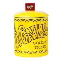 Silver Buffalo Warner Brother's Willy Wonka Golden Ticket Large Canister Ceramic Cookie Jar, gold (WBM248EG)