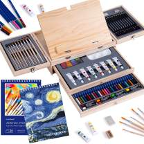 Professional Art Set 85 Piece with Built-in Wooden Easel, 2 Drawing Pad, Deluxe Art Set in Portable Wooden Case-Painting & Drawing Set Professional Art Kit for Kids, Teens and Adults