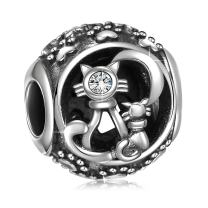 ANGEMIEL 925 Sterling Silver Black Dog Paw Prints Love Pet Charms Fit EuropeanSnake Bracelets