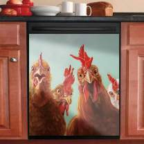 Rooster Hen Dishwasher Cover Magnet Chicken Canvas Dishwasher Door Cover Sheet Magnetic Decorative Kitchen Dishwasher Sticker for Washers Fridge Panel Decal Cover Animals Home Cabinets Stickers