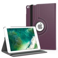 MoKo Case Fit 2018/2017 iPad 9.7 6th/5th Generation - 360 Degree Rotating Cover Case with Auto Wake/Sleep Compatible with iPad 9.7 Inch 2018/2017, Purple