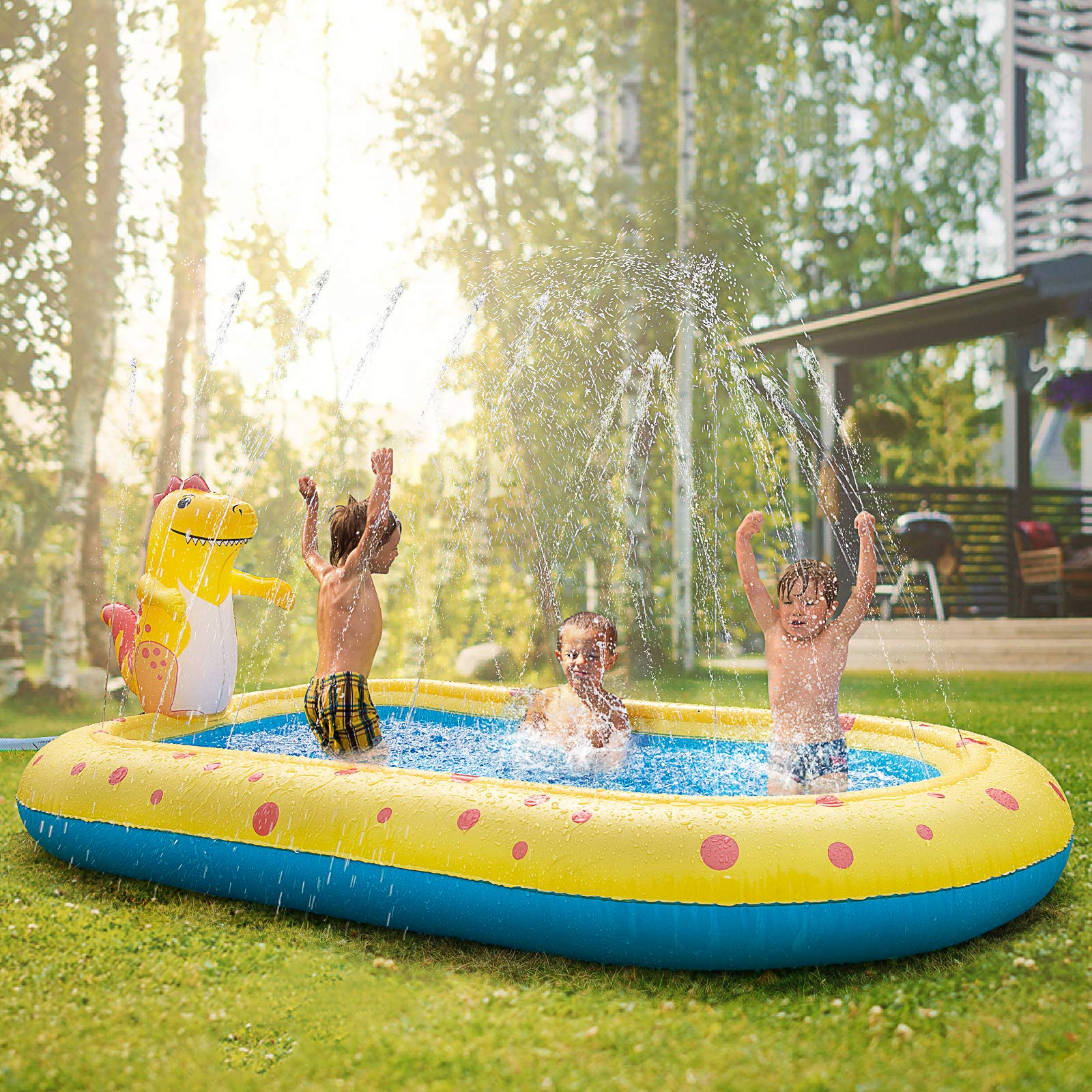 Inflatable Sprinkler Swimming Pool, Blow Up Kiddie Water Pool with Splash, Portable Cute Dinosaur Design Babies Toy Pool, Family Lounge Water Park, for Toddler, Backyard, Outdoor, Garden, Summer Gift