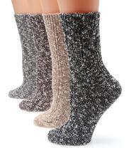 MIRMARU Women's Premium Winter 4 Pairs Wool And Cotton Blend Crew Socks Collection