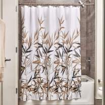 "iDesign Anzu Fabric Shower Curtain Water-Repellent and Mold- and Mildew-Resistant for Master, Guest, Kids', College Dorm Bathroom, 72"" x 72"", Black and Tan"