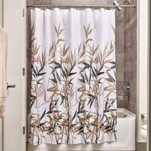 """iDesign Anzu Fabric Shower Curtain Water-Repellent and Mold- and Mildew-Resistant for Master, Guest, Kids', College Dorm Bathroom, 72"""" x 72"""", Black and Tan"""