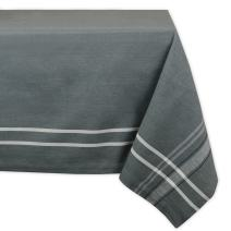DII 100% Cotton French Stripe Tabletop Collection For Everyday Indoor/Outdoor Dining, Special Occasions or Dinner Parties, Machine Washable, 60x104, Gray Chambray