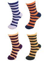 Super Soft Warm Fuzzy Striped Socks - 4 Pair Assorted Packs