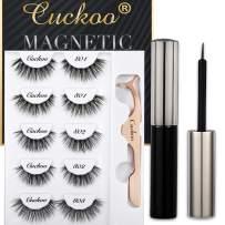 Magnetic Eyeliner and Eyelashes Kit, Magnetic False Eyelashes Magnetic Eyeliner for Magnetic Eyelashes Set, With Reusable Full Lashes Natural Dramatic Style 5 Pairs