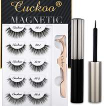 Magnetic Eyeliner and Eyelashes Kit, Magnetic False Eyelashes Magnetic Eyeliner for Magnetic Eyelashes Set, With Reusable Full Lashes Natural Dramatic Style 5 Pairs