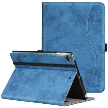 ZtotopCase for New IPad 9.7 Inch 2018/2017,Premium PU Leather Business Slim Folding Stand Folio Cover with Auto Wake/Sleep,Pencil Holder and Multiple Viewing Angles,Mottled Blue