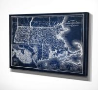 WEXFORD HOME Blue Vintage Map Gallery Wrapped Canvas Art, 36x48, Massachusetts Sketch MapBlue